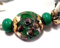 SALEOne of a Kind Lampwork Glass 18K Gold Plate by bijoullery, $32.50
