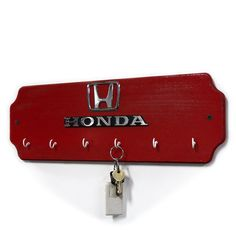 Red Honda Car Key Rack  Wood Key Hook  Wall Key by StarlingInk, $54.99