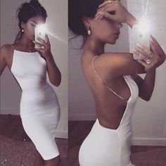 Look like you're going to a Gala evening in this stunning white backless dress! - Size runs slightly small, order one size up. - Model is wearing S size. - Material: Polyester, Spandex. - Skinny fit - Backless Dress - Rhinestone Straps