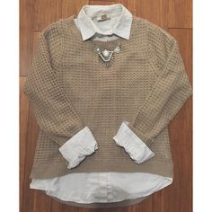 Taupe Waffle Sweater Taupe knit sweater➖super comfortable & soft➖worn once➖all offers considered Forever 21 Sweaters Crew & Scoop Necks