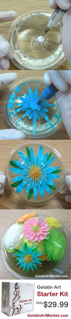 Learn how to make delicious milk and sugar flowers in fruit-flavored clear gelatin. Fun and easy starter kit available at GelatinArtMarket.com