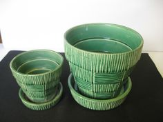 McCoy Pottery Green Planters with attached Saucers