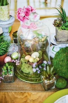 Bell Jar with Nest Centerpiece #Easter #spring