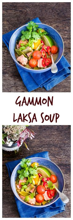Now is the perfect time to try a bowl of this warming gammon laksa noodle soup. Side Recipes, Lunch Recipes, Great Recipes, Savoury Recipes, Amazing Recipes, Delicious Recipes, Yummy Food, Favorite Recipes, Healthy Canned Soups