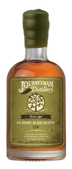 Gin Label -- Bilberry Black Hearts Barrel Aged Gin « Journeyman Distillery