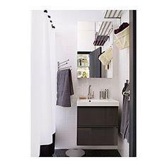 IKEA - GODMORGON, Servantskap med 2 skuffer, høyglans grå, 60x47x58 cm, , 10 års garanti. Les om vilkårene i garantiheftet.Lettrullende skuffer med uttrekksstopp. Lukkes mykt og stille.Du kan enkelt endre størrelse på boksen ved å flytte avdeleren.Du kan enkelt se og nå tingene dine fordi skuffene kan trekkes helt ut.Skuffer i massivt tre med bunn i ripefast melamin.