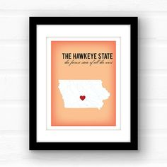 Whats the fairest state in all the west? Why, its Iowa, O Iowa!  Iowas know that Iowa is REALLY where the corn grows as high as an elephants eye. Its also the home of the worlds largest strawberry, the most crooked street in the world, and all those bridges of Madison County.  _________________________________________________________ GIMME ALL THE DETAILS:  —Print measures 11x14 and has a small white border all around for easy framing!  Please let me know the following: 1. Background Color…