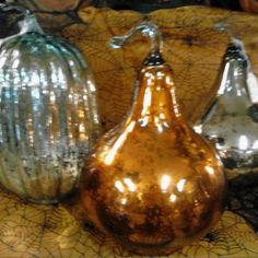 Mercury Glass Pumpkin & Gourds
