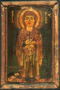 Saint Irene and Donor Byzantine Icons, Byzantine Art, Religious Icons, Religious Art, Orthodox Icons, Naive Art, Illuminated Manuscript, Christian Art, Cute Art