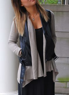 Layer a leather vest with a long comfy sweater. Great way to use vests in winter too.