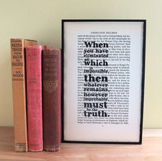 Frame a page from a book and write a quote from the book over it.