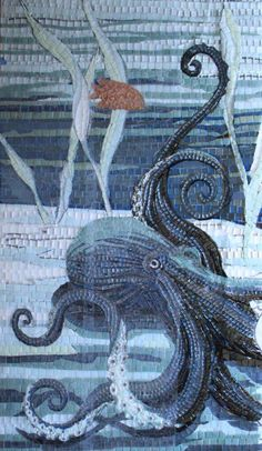 Sandra Bryant octopus - ocean- sea creature mosaic - under water Love this but wish it had more color. :)