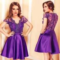 Short evening dress with lace and taffeta in purple shades: https://missgrey.org/en/dresses/short-purple-evening-dress-with-lace-and-taffeta-irem/484?utm_campaign=februarie&utm_medium=album_irem_mov&utm_source=pinterest_produs