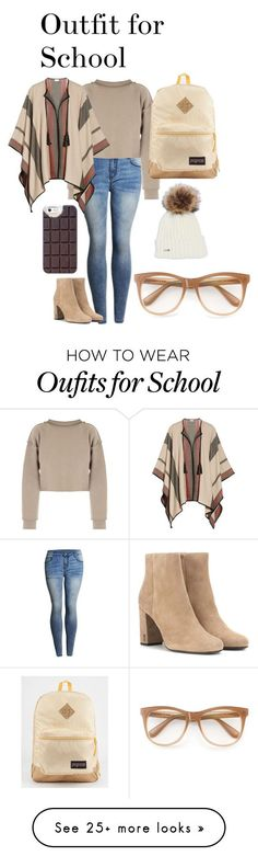 """Outfit for School"" by ava-josephine on Polyvore featuring My Mum Made It, Talitha, Yves Saint Laurent, JanSport, Wildfox and Casetify"