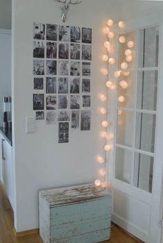 Coffre en bois - mur photos - guirlande - Déco - Vintage