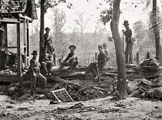 "Yankees in Georgia 1864. ""Federal picket post near Atlanta, Georgia."""