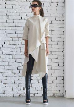 Beige Asymmetric Shirt