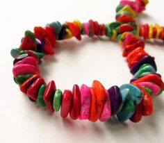 Multicolored Chip Nugget Beads Multi Color Slice by BijiBijoux