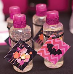 Ghouls Night {Pink Halloween Cocktail Party} with poisonous pumpkin parfaits, shower gel favors, chevron bat silhouettes and glitter spiders. Pink Halloween, Halloween Party Themes, Halloween Birthday, Halloween Printable, Baby Favors, Halloween Cocktails, Favor Tags, Girls Night, Backdrops