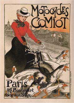 """High resolution """"Motorcycles Comiot"""" by Theophile Steinlen, 1899.   ,#French, #Women"""