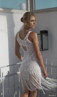riki dalal 2015 valencia wedding dresses sleeveless jewel neckline beaded bodice fringe short wedding dress skirt back