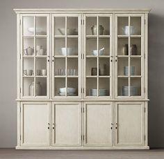 """Hampton Casement 4-Door Panel Sideboard & Glass Hutch, 88""""W x 16""""D x 91""""H"""