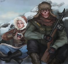 I've draw one with Charon and Lone, cauz it is too hot here so i'd like to paint someting cool: THE NUCLEAR WINTER in Capital Wasteland. This pic only could make people. Apocalypse Games, Nuclear Apocalypse, Fallout Fan Art, Fallout Concept Art, Creature 3d, Nuclear Winter, Post Apocalyptic Art, Fallout New Vegas, Weird Creatures