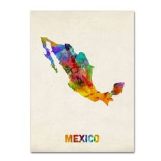 """Trademark Art """"Mexico Watercolor Map"""" by Michael Tompsett Graphic Art on Wrapped Canvas Size: 32"""" H x 24"""" W x 2"""" D"""