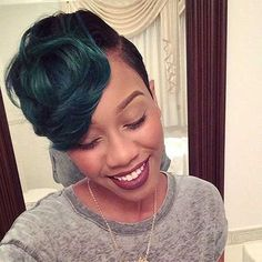 Green Colored Short Hairstyles for Black Women