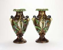 An Unusual Pair of School of Paris Â?PalissyÂ? Vases