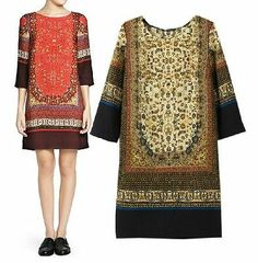 2014 NEW Retro Vintage Women's Ethnic floral Straight Dress one piece Gown S M L