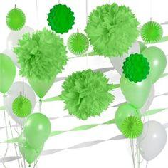 Green & White - Baby Shower Decor Kit