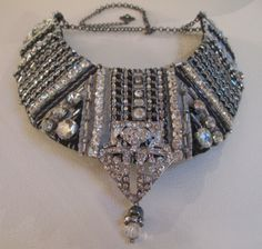 Art Deco Bib Collar Statement Necklace Black Silver by audreymivey, $72.00