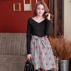 V-Neck Lace Strap Print Striped Dress