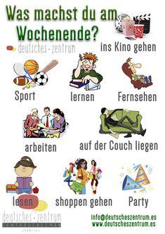 German vocabulary - Was machst du am Wochende? / What do you do at the weekend? Study German, German English, Learn German, German Grammar, German Words, German Language Learning, English Language Learners, German Resources, Deutsch Language