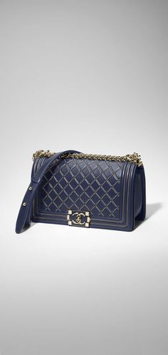 BOY CHANEL handbag, lambskin & gold-tone metal-navy blue - CHANEL