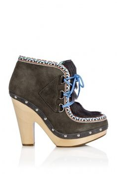 BELLE BY SIGERSON MORRISON CLOG HEEL NAVAJO LACE UP SUEDE BOOT