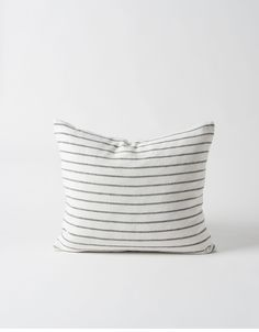 The Hand Woven Stripe Linen Cushion Cover's subtle rework of a seaworthy classic sails into neutral territory in cool chalk and carbon. Bed Pillows, Cushions, Striped Linen, Cushion Covers, Hand Weaving, Pillows, Throw Pillows, Toss Pillows, Hand Knitting