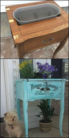 Turn on Old Sewing Table Into a Color Popping Planter For Your Porch Woodworking Tools - Carpenter Award 25 painted furniture projects to inspire Old Furniture, Refurbished Furniture, Repurposed Furniture, Furniture Projects, Furniture Makeover, Painted Furniture, Porch Furniture, Cheap Furniture, Discount Furniture