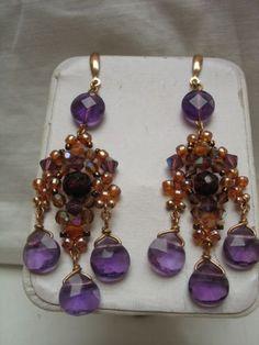 amethyst beaded chandelier earrings