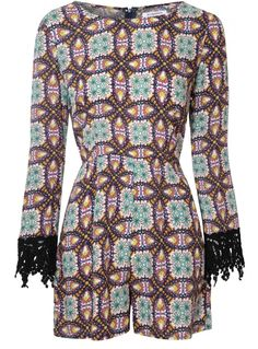 Multi Coloured Playsuit With Lace Cuffs