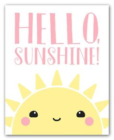 """""""Hello Sunshine!"""" This kawaii-style art print features an adorable digital illustration of a sweet and happy rising sun. Use coupon code SAVE25 at checkout to receive a 25% discount on 2 or more print"""