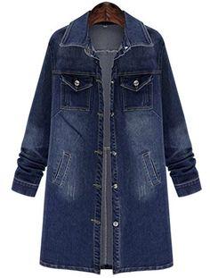 90a36ce8294de SALE PRICE -  27.99 - QZUnique Women Long Denim Jacket Casual Loose Long  Sleeve Jean Jacket