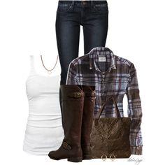 American Eagle Plaid Shirt & Boots