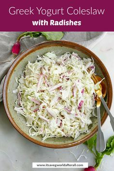 Shredded cabbage and thinly sliced radishes star in this delicious and healthy twist on classic coleslaw. Made with a Greek Yogurt and apple cider vinegar dressing, this no mayo recipe is great for 4th of July and summer cookouts. #coleslaw #nomayo #cabbage Cabbage Salad Recipes, Radish Recipes, Yogurt Recipes, Healthy Coleslaw Recipes, Healthy Vegetable Recipes, Vegetarian Recipes, Make Greek Yogurt, Greek Yogurt Dressing, French Breakfast Radish