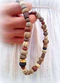 Ceramic necklace Handmade ceramic beads Earth colors by claykedem