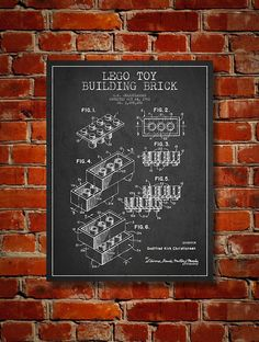 1961 Lego Toy Building Brick Patent Art Decor Drawing. Available as poster or canvas in various colors. #decor #inventions #patents #interiordesign