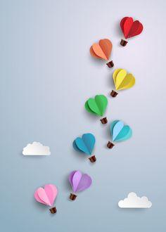 Hot Air Balloon In A Heart Shape. : Hot air balloon in a heart shape. Kids Crafts, Diy Crafts For Gifts, Diy Home Crafts, Arts And Crafts, Diy Para A Casa, Paper Crafts Origami, Origami Art, Diy Birthday, Creative Birthday Cards