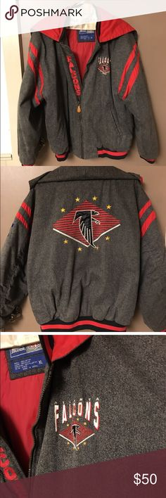 Atlanta Falcons Starter brand NFL coat. I am assuming this coat is an older, vintage style because as I was researching it, I could not find another one like this. That makes it even more special.  It's in great shape. The only flaw I have been able to find is that the hood won't zip but I'm sure the zipper can be repaired.  Shell: 100% Cotton Lining: 100% Nylon Insulation: 100% Polyester RN# 67879  Please feel free to ask any questions Starter Jackets & Coats