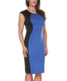 Loving this Stanzino Blue & Black Hourglass-Panel Sheath Dress on #zulily! #zulilyfinds